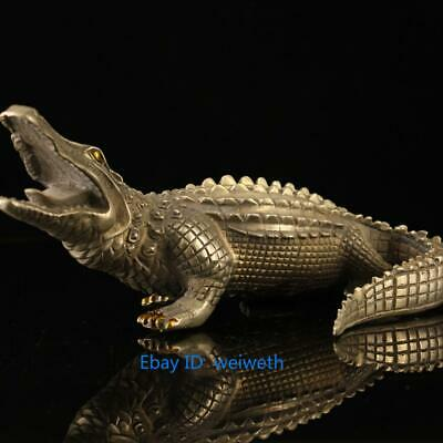 Asian Old Collection Ingenious Chinese Tibet silver handwork Crocodile Statue