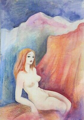 NUDE surreal painting Dora Pilssala colored pencils WOMAN in VOLCANIC LIGHT