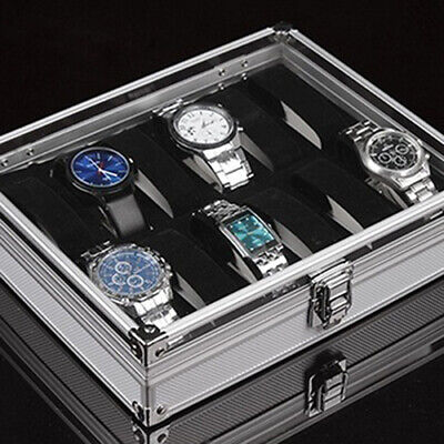 6/12 Grid Slots Jewelry Watches Aluminium Alloy Display Storage Box Case Grace