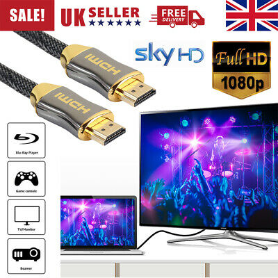 Premium 4K Hdmi Cable 2.0 High Speed Plated Braided Lead 2160P 3D Hdtv Uhd Uk
