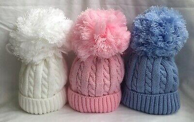 Baby Pom Pom Hat Knitted Cable Knit Winter Newborn Boy Girl Blue White Pink 0-24