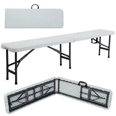 6' Portable Plastic In/Outdoor Camping Picnic Party Dining Folding Bench White