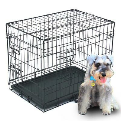 "24""/30""/36""/42""/48"" Pet Kennel Cat Dog Folding Crate Wire Metal Cage w/ Divider"