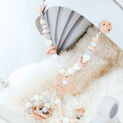 Baby Teething Star Rattles Wood Pacifier Crib Garland Chain Holder Stroller Toy