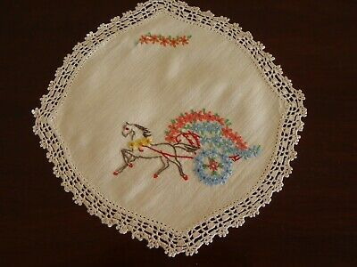 Vintage Doily Hand Embroidery Horse & Floral Chariot with Crochet Border 22.5cm