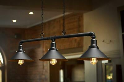 Industrial Ceiling Pendant 3 Light Cafe Bar Vintage Lamp Black Metal Pipe Modern