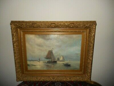 Antique oil painting,{ Johan Rust 1828- 1915, Marine - Sailboats near the shore}