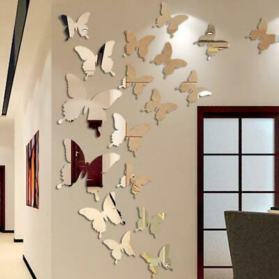 12Pcs 3D Butterfly Mirror Wall Sticker Decal Removable Wedding Decoration PET