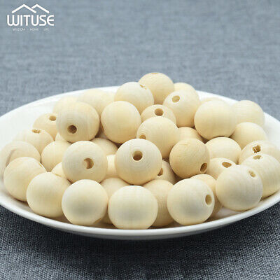 Round Wood Beads Natural Color Wooden Spacer Beads For Bracelet Necklace DIY F1