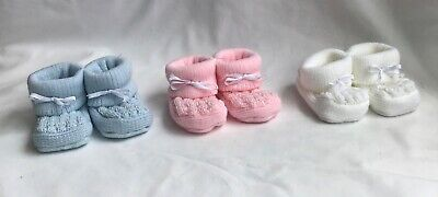 baby booties bootee shoes knitted with bows boy girl blue pink white newborn