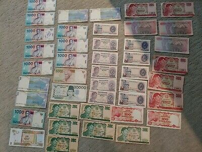 Indonesia Paper Bank Notes Bulk Collection x43