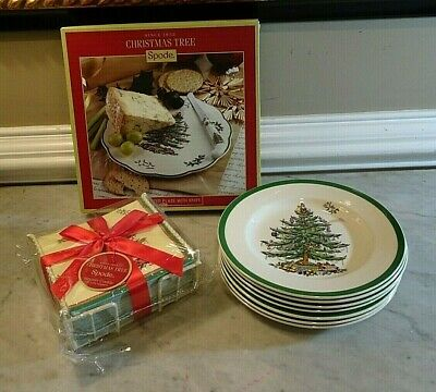 SPODE CHRISTMAS TREE Appetizer Plate, 7 Salad Plates and Paper Napkins w/ Caddie
