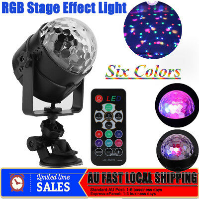 Sound Active RGB LED Stage Light Crystal Ball Disco Club DJ Party Remote Control