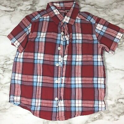 Childrens Place Boys 18-24 Month Red Olaid Button Down Shirt