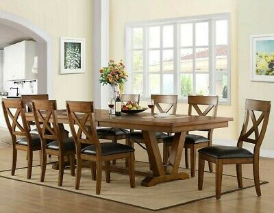 9 Pc Rustic Farmhouse Dining Set Extendable Solid Wood Leather Antique Finish