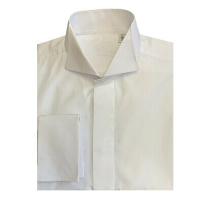 Mens White Victorian Wing Collar Shirt Tapered Fit -Wedding/Formal