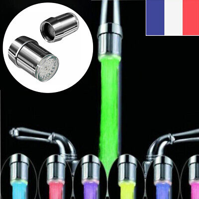 Robinet-mitigeur embout raccord  lumiere LED -7 couleurs  + joint filtre Neuf FR