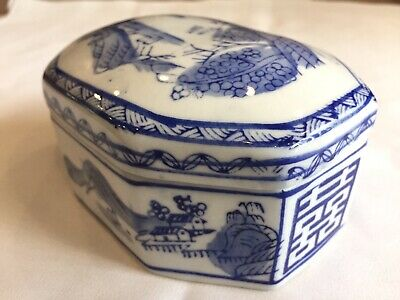 VINTAGE CHINESE Blue & White Trinket Box With Lid, Made in China, with Scenes