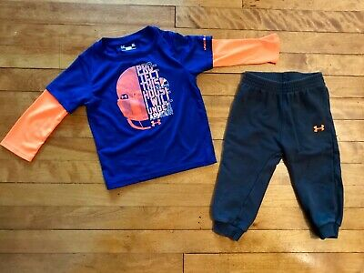 Baby Boy 24 Month Under Armour Outfit Orange Blue Gray Football EUC