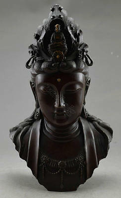 Collectible Decorated Old China Handwork Copper Carved Kwan-yin Head Statue