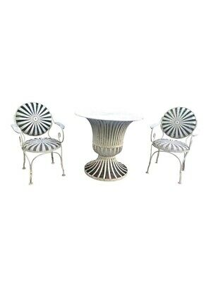 1940's vintage francois carre french art deco iron chairs with table
