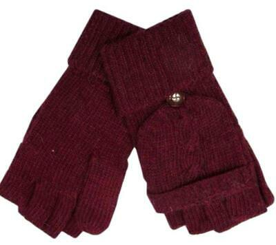 Burgundy Gloves Ladies Convertible Fingerless Texting Gloves Red Winter Mittens