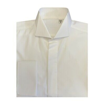 Mens Ivory Victorian Wing Collar Shirt Tapered Fit -Wedding/Formal