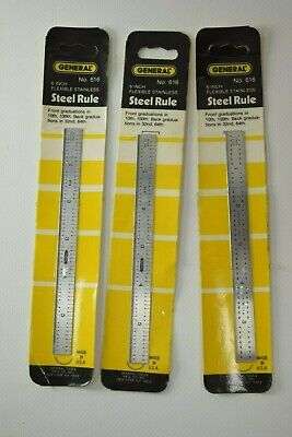 """Lot of 3 Brand New General Tools 6"""" Flexible Stainless Steel Rules #616"""
