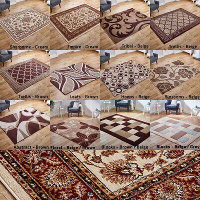 Modern Traditional Beige Brown Gold Discount Rugs Runners on Clearance Sale