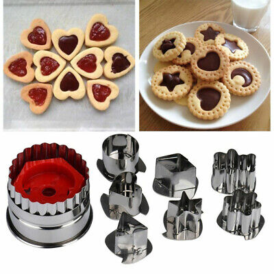 7pcs Stainless Steel Biscuit Pastry Cookie Cutter Cake Decor Baking Mould Tools