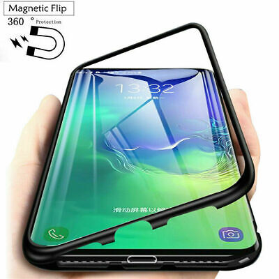 Case For Samsung Note 10 Plus 9 S9 S8 S10+ Magnetic Edge Glass Back Phone Cover