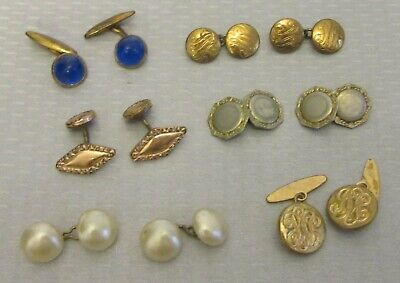 estate lot 6 PAIR ANTIQUE CUFFLINKS vtg double-sided button cabochon pearl