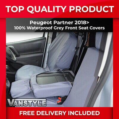 PEUGEOT PARTNER VAN TAILORED /& WATERPROOF FRONT SEAT COVERS 2016-18 BLACK 105