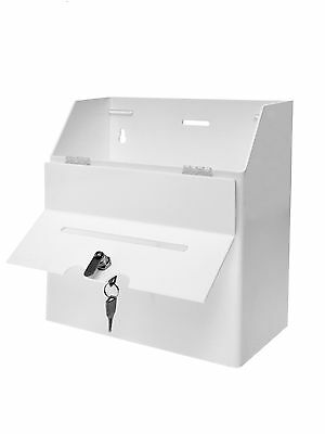 White Wall Mount Counter Top Ballot Locking Suggestion Collection Tip Box Qty 6