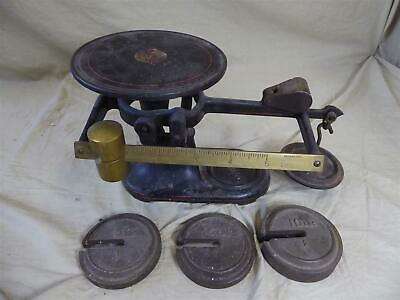 Antique FAIRBANKS PLATFORM SCALE/BALANCE w/ Weights - Cast Iron & Brass