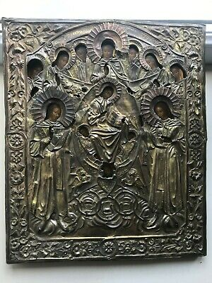 """Antique 19c Russian Orthodox Hand Painted Wood Icon """"All Ethereal Forces""""RAR!!!"""