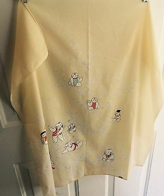 Vintage Asian Oriental Square Figural Scarf Pale Yellow V20