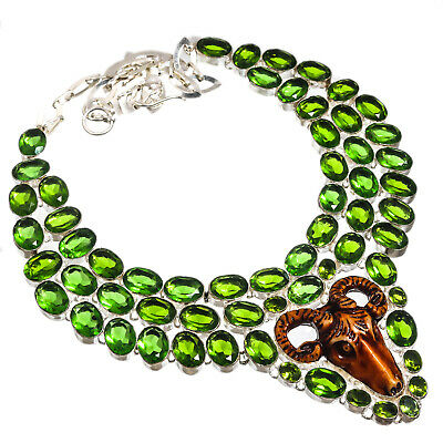 Carved Bone Green Peridot Necklace 925 Sterling Silver Plated Jewelry Sz16-18""