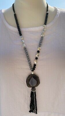 NEW Tassels Necklace Grey Black Faceted Crystals Ornate Beads Long Silver Tone