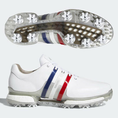 Adidas Men's Tour 360 Boost 2.0 Golf Shoes Us 9 M White/blue/red/silver 19675