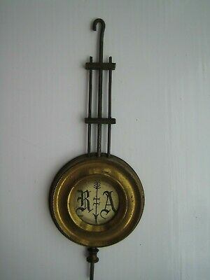 19th century French 3 rod brass and steel compensated clock pendulum.
