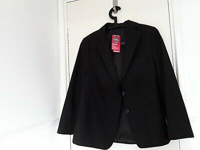 M&S Girls Plus Fit Classic School Blazer Black Age 13+ Chest 89 Cm Stormwear