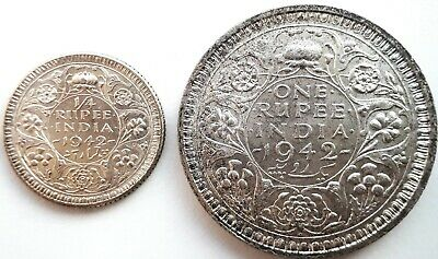 1942 British India KING GEORGE VI   1, 1/4 Rupee Silver Coins aUNC