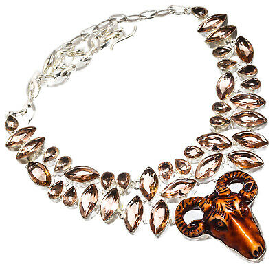 Carved Bone Morganite Necklace 925 Sterling Silver Plated  Jewelry Sz16-18""