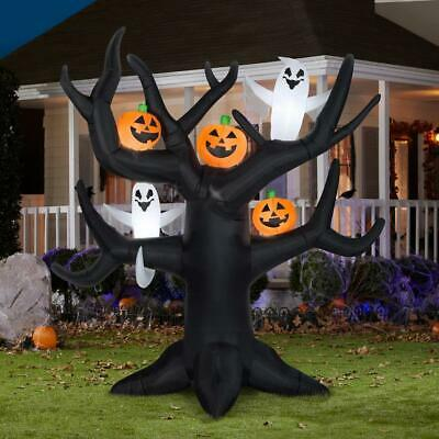 8 Ft X 8 Ft Halloween Airblown Inflatable Lighted Dead Tree W/ Ghost Pumpkins