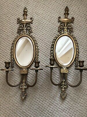 Pair Of Antique Louis XV Brass/Bronze Mirrored Candle Wall Sconces With Crystals
