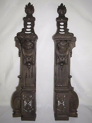 08D50 Antique Pair of Uprights Chimney Architecture End Xixth Style Louis XVI