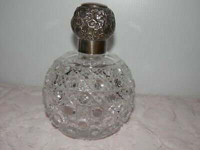 Antique Cut Crystal Sterling Perfume Scent Bottle Charles May 1904 Birmingham