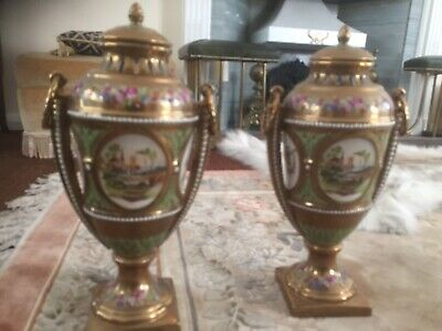 Two Gold Pearl Encrusted Vases