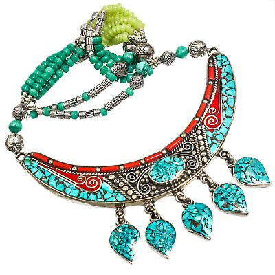 """Tibetan Turquoise Red Coral Necklace 925 Silver Plated  Jewelry Sz16-18"""""""